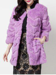Faux Cony Collarless Coat -