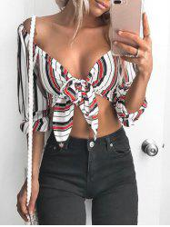 Striped Off Shoulder Tied Crop Top -