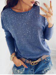 Drop Shoulder Rhinestone Sweatshirt -