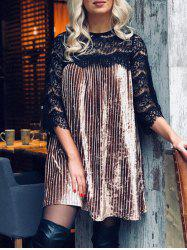 Lace Panel Velvet Shift Dress -