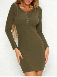 Button Embellished Bodycon Dress -