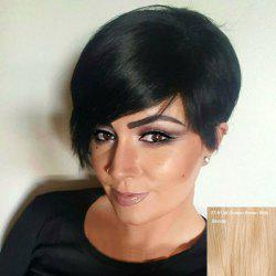 Short Side Fringe Straight Human Hair Wig -