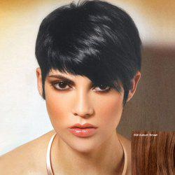 Short Inclined Bang Straight Pixie Human Hair Wig -