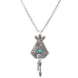 Faux Turquoise Arrow Engraved Indian Sweater Chain -