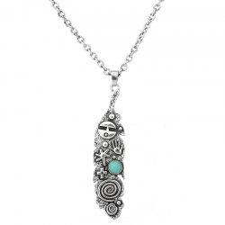 Artificial Turquoise Engraved Cross Sweater Chain -