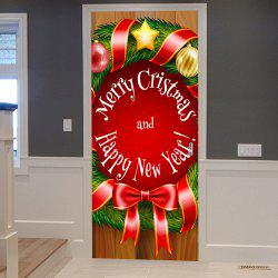Christmas Greetings Wreath Pattern Door Cover Stickers