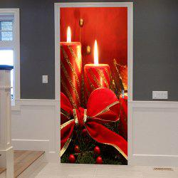 Christmas Candles Pattern Door Cover Stickers - Red - 38.5*200cm*2pcs