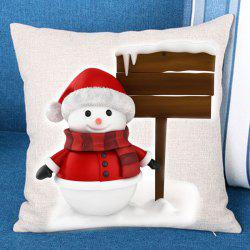 Christmas Snowman Landmark Patterned Throw Pillow Case - Red And White - W18 Inch * L18 Inch