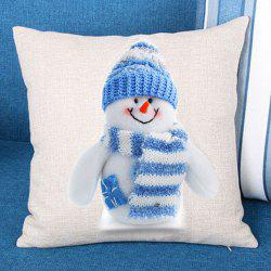 Snowman Patterned Linen Throw Pillow Case -