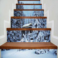 Stickers d'escalier décoratif de Noël Snowscape Pattern -