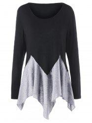 Plus Size Long Sleeve Two Tone Handkerchief T-shirt -
