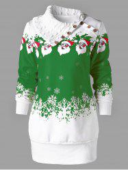 Santa Claus Print Plus Size Tunic Sweatshirt Dress -
