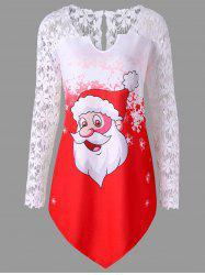 Christmas Plus Size Santa Claus Lace Trim T-shirt
