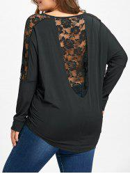 Plus Size Sheer Lace Insert T-shirt -