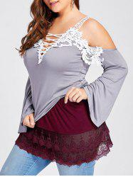 Plus Size Layered Sheer Lace Extender Skirt -