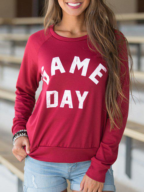 Shops Round Neck Letter Print Pullover T-shirt
