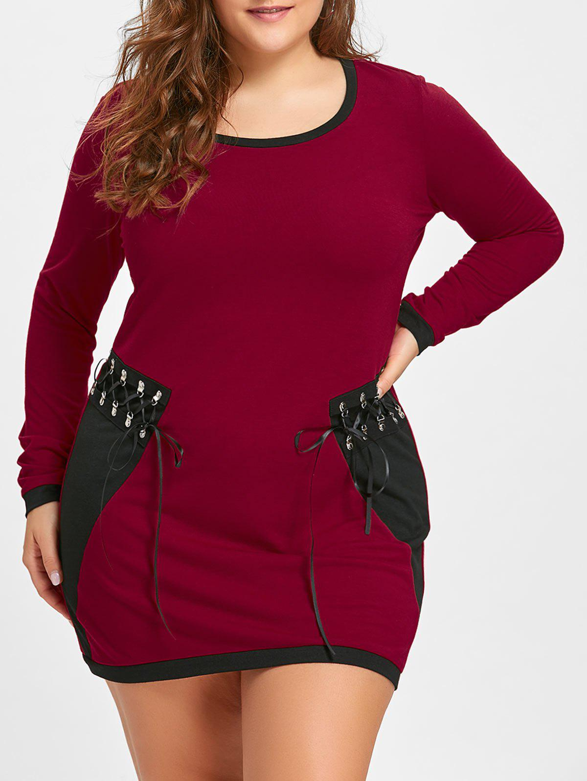 Online Plus Size Lace Up Long Sleeve Tee Dress