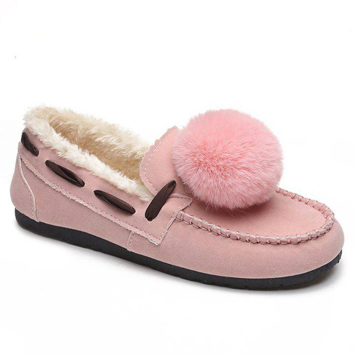 Cheap Whipstitch Pompom Loafer Shoes