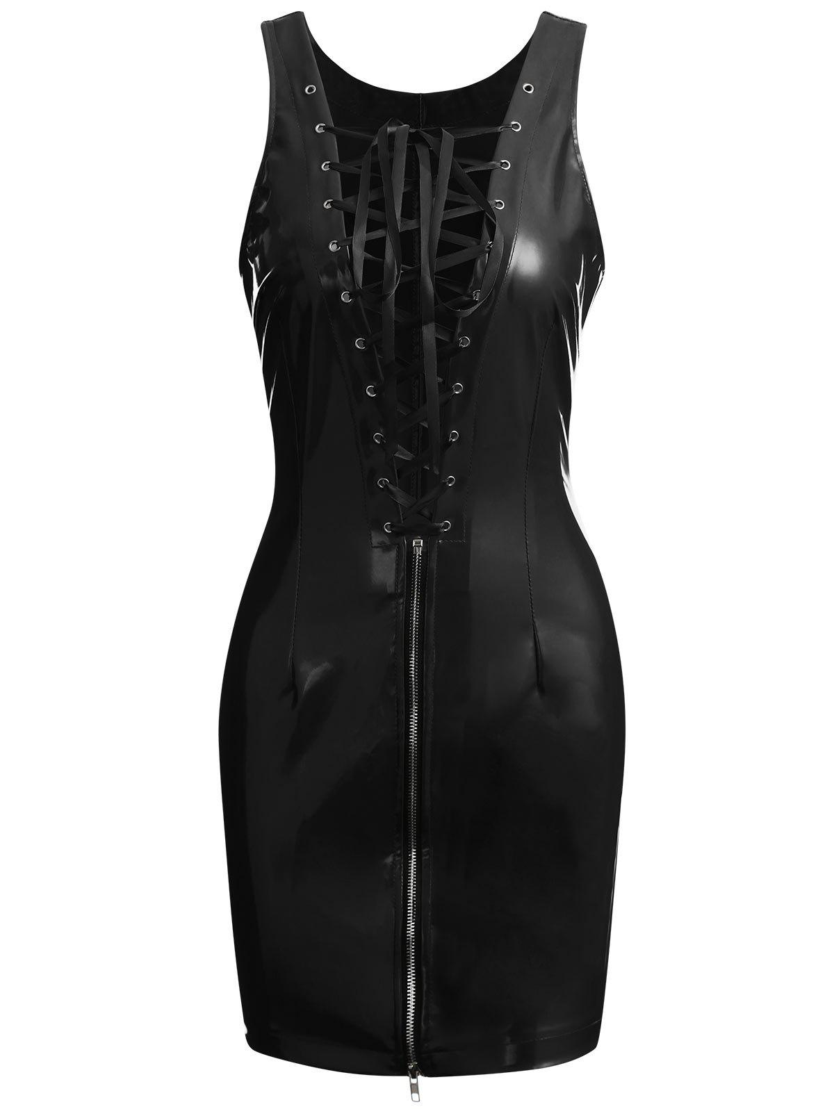 Outfits Zip Lace-up Faux Leather Club Dress