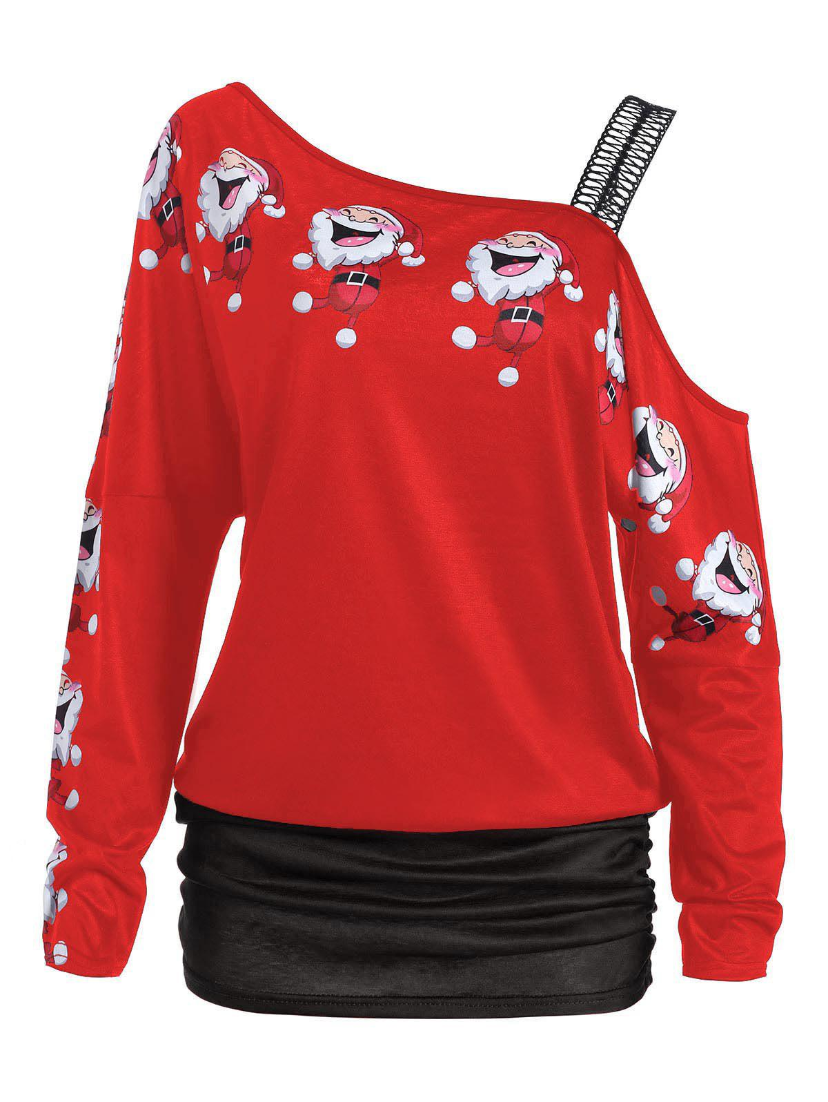 Santa Claus Laugh Print Cold Shoulder T-shirtWOMEN<br><br>Size: XL; Color: RED; Material: Polyester; Shirt Length: Regular; Sleeve Length: Full; Collar: Round Neck; Style: Fashion; Sleeve Type: Cold Shoulder; Pattern Type: Cartoon,Print; Season: Fall,Spring,Winter; Weight: 0.2200kg; Package Contents: 1 x T-shirt;