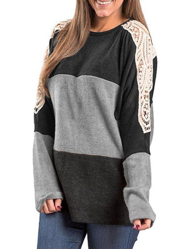 Hot Color Block Lace Insert Tunic Tee