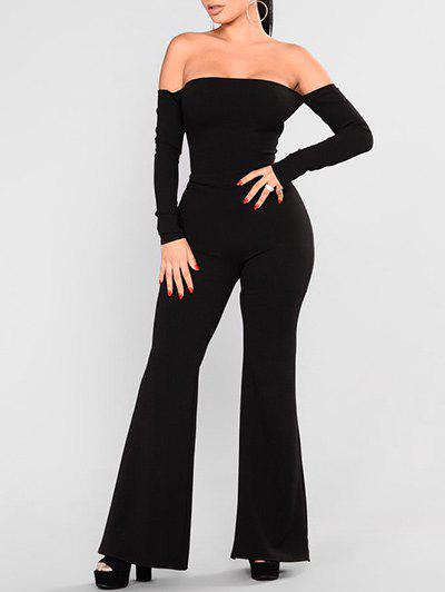 Discount Off Shoulder Backless Lace-up Wide Leg Jumpsuit