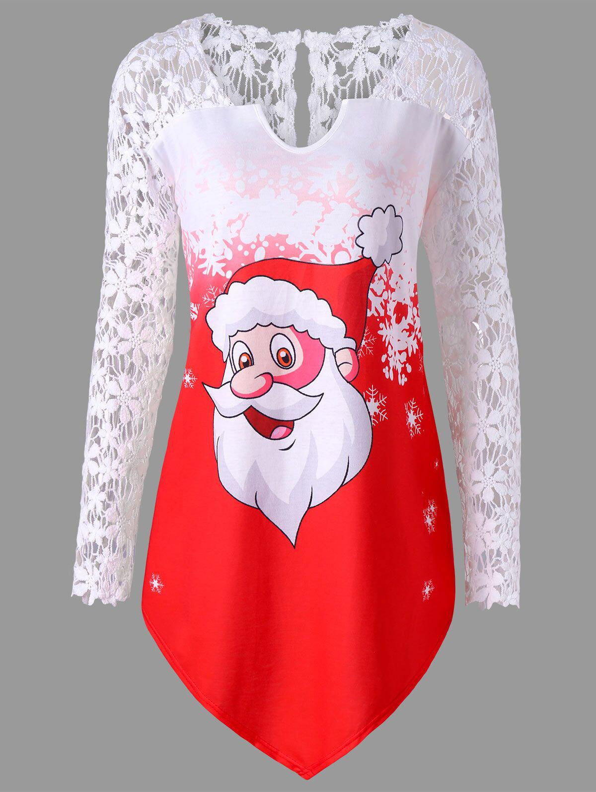 Christmas Plus Size Santa Claus Lace Trim T-shirtWOMEN<br><br>Size: 3XL; Color: RED; Material: Polyester,Spandex; Shirt Length: Long; Sleeve Length: Full; Collar: V-Neck; Style: Casual; Season: Fall,Spring; Embellishment: Lace; Pattern Type: Character; Weight: 0.3000kg; Package Contents: 1 x T-shirt;