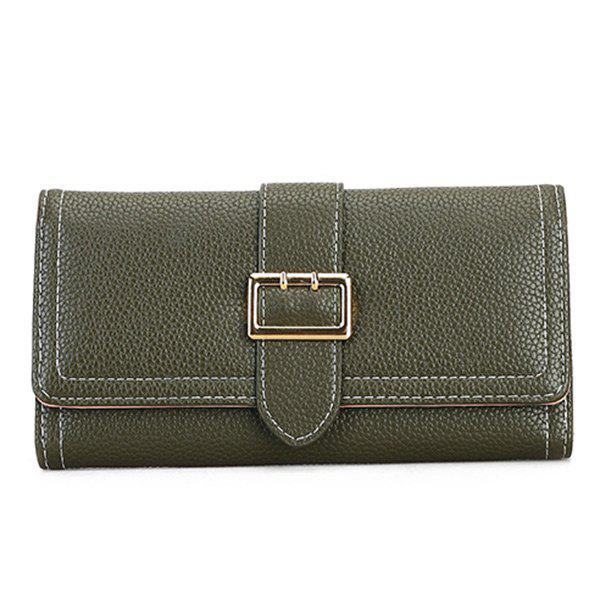 Store PU Leather Stitching Buckle Strap Wallet