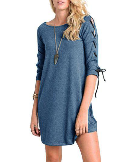 Chic Mini Lace-up Casual Tee Dress