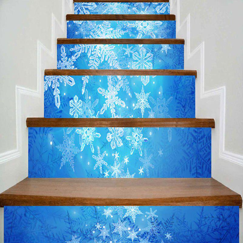 Christmas Snowflake Printed Removable Stair StickersHOME<br><br>Size: 100*18CM*6PCS; Color: BLUE; Wall Sticker Type: Plane Wall Stickers; Functions: Stair Stickers; Theme: Christmas; Pattern Type: Snowflake; Material: PVC; Feature: Removable; Weight: 0.3500kg; Package Contents: 6 x Stair Stickers (Pcs);