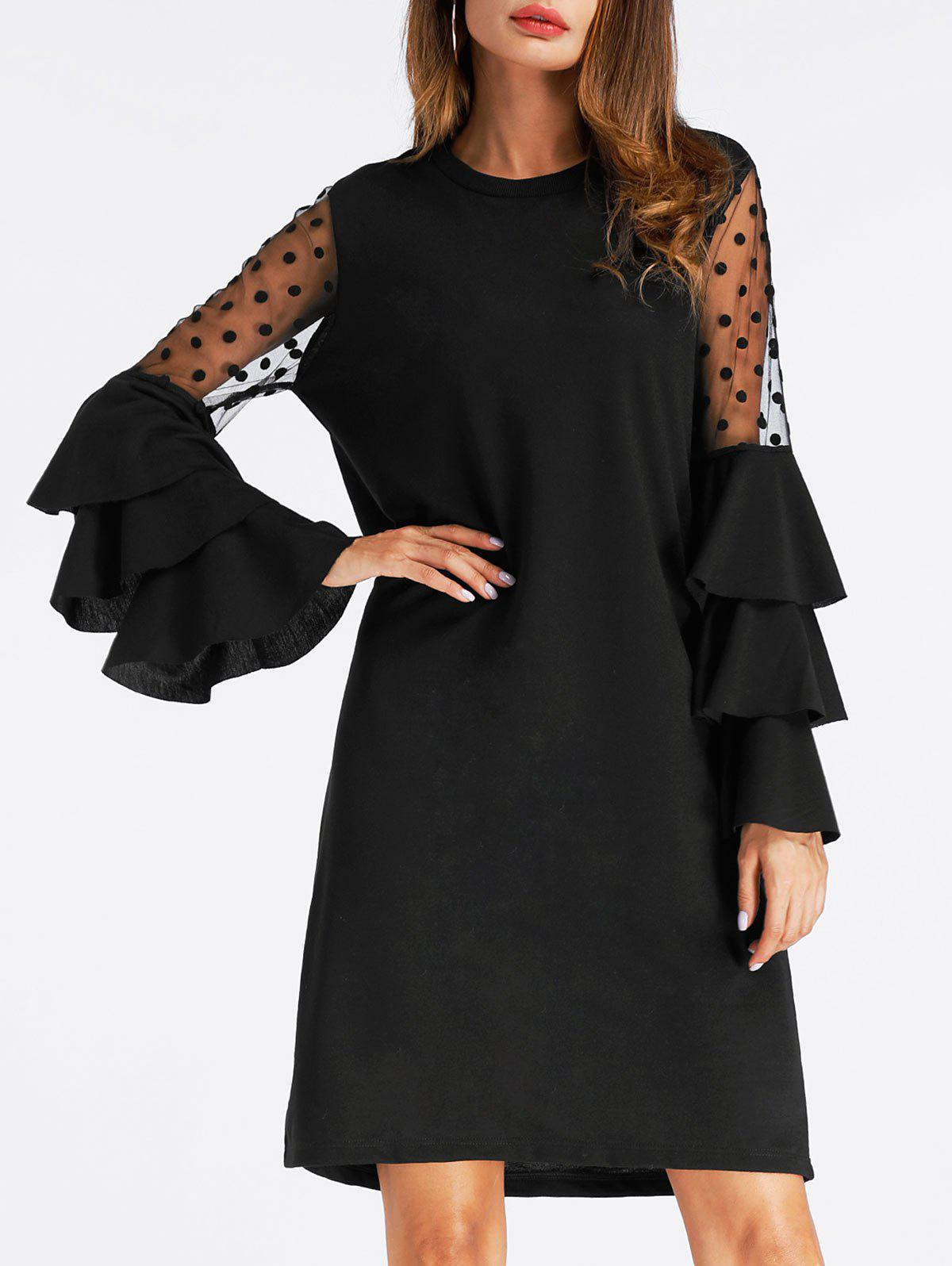 Bell Sleeve Mesh Insert Mini Shift DressWOMEN<br><br>Size: XL; Color: BLACK; Style: Casual; Material: Polyester; Silhouette: Shift; Dresses Length: Mini; Neckline: Crew Neck; Sleeve Type: Flare Sleeve; Sleeve Length: Long Sleeves; Pattern Type: Patchwork; With Belt: No; Season: Fall,Spring; Weight: 0.4000kg; Package Contents: 1 x Dress; Occasion: Casual;