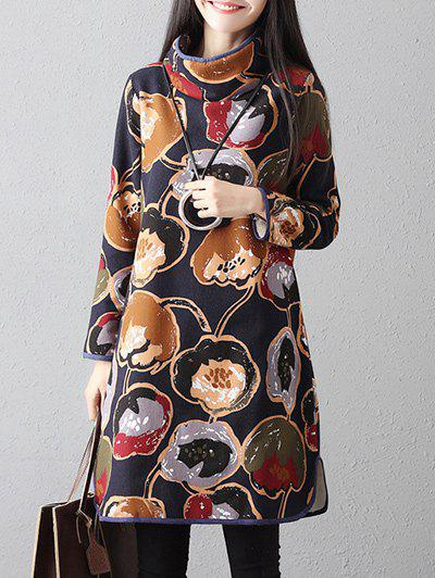 Hot High Neck Printed Long Sleeve Dress