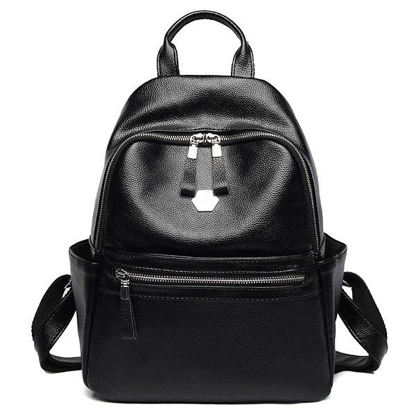 Shop Side Pockets Faux Leather Backpack With Handle