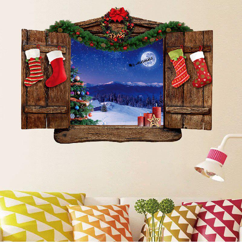 Christmas Wood Window Scenery Removable Wall StickerHOME<br><br>Size: 50X70CM; Color: COLORMIX; Wall Sticker Type: 3D Wall Stickers; Functions: Decorative Wall Stickers; Theme: Christmas; Pattern Type: Wood Grain; Material: PVC; Feature: Removable; Weight: 0.1100kg; Package Contents: 1 x Wall Stickers;