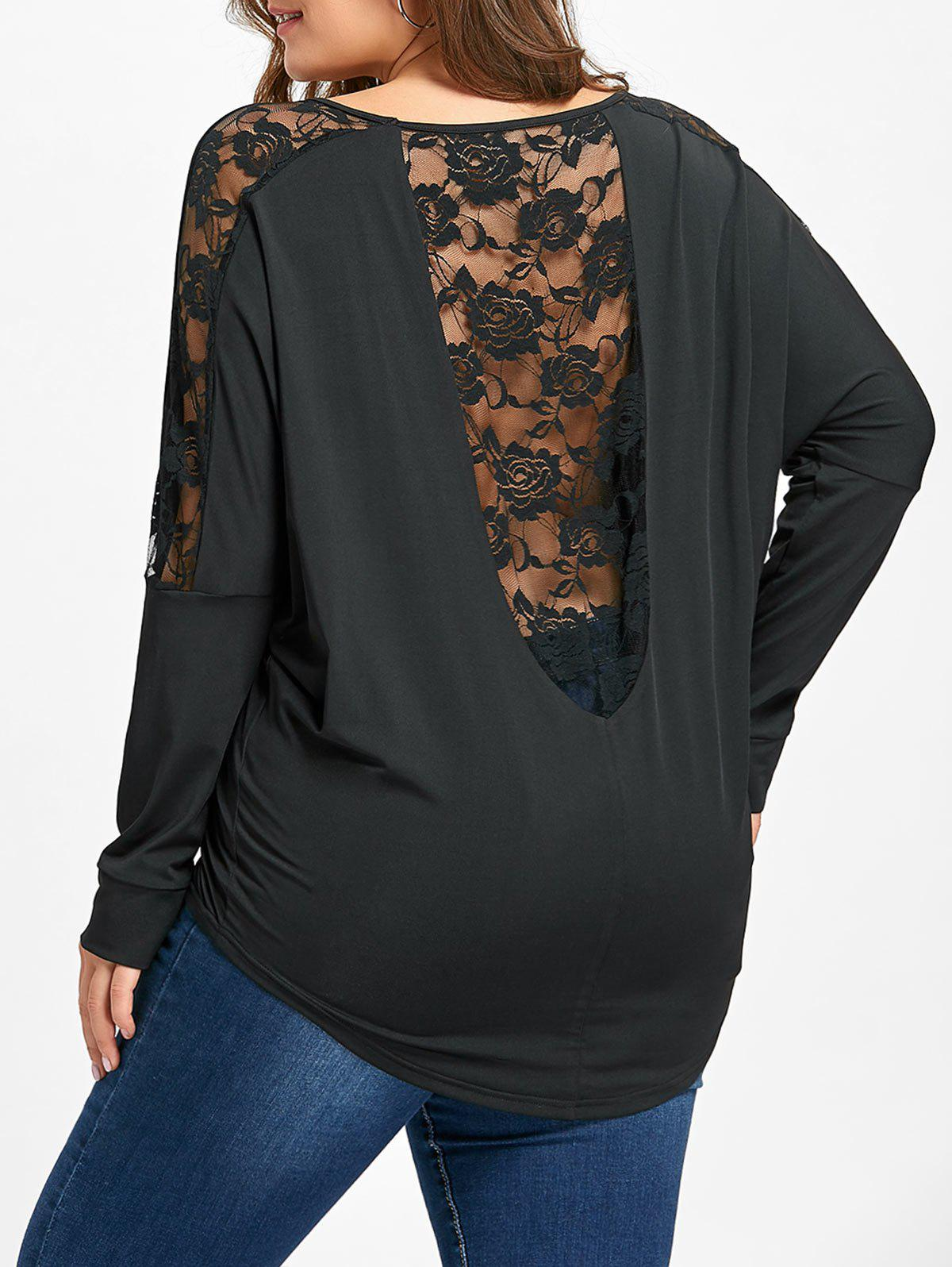 Online Plus Size Sheer Lace Insert T-shirt
