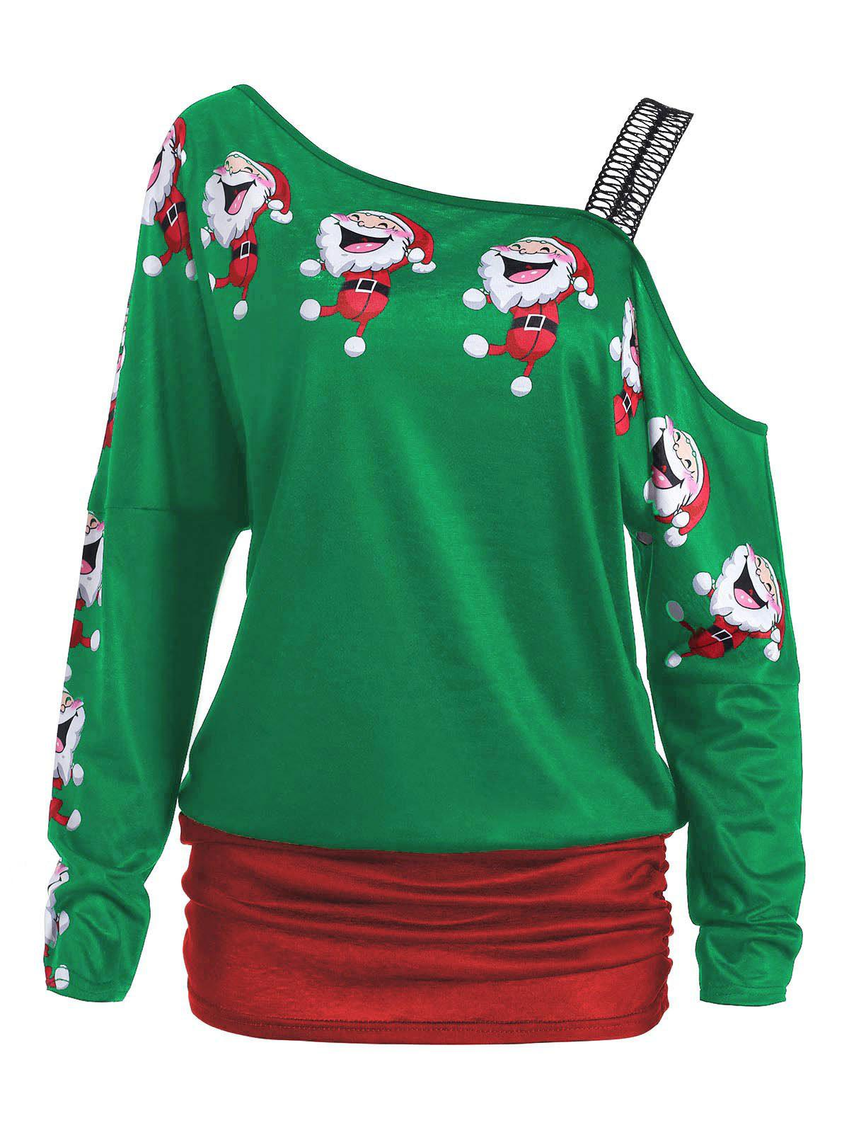 Santa Claus Laugh Print Cold Shoulder T-shirtWOMEN<br><br>Size: L; Color: GREEN; Material: Polyester; Shirt Length: Regular; Sleeve Length: Full; Collar: Round Neck; Style: Fashion; Sleeve Type: Cold Shoulder; Pattern Type: Cartoon,Print; Season: Fall,Spring,Winter; Weight: 0.2200kg; Package Contents: 1 x T-shirt;