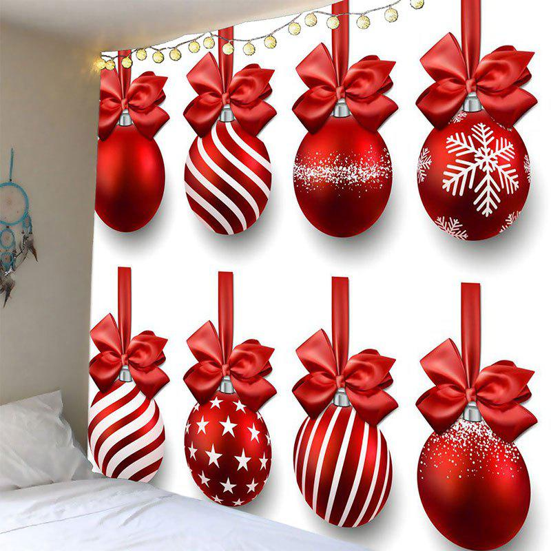 Christmas Hanging Bowknot Balls Patterned Wall TapestryHOME<br><br>Size: W79 INCH * L79 INCH; Color: WHITE AND RED; Style: Festival; Theme: Christmas; Material: Polyester; Feature: Removable,Waterproof; Shape/Pattern: Ball; Weight: 0.4100kg; Package Contents: 1 x Tapestry;