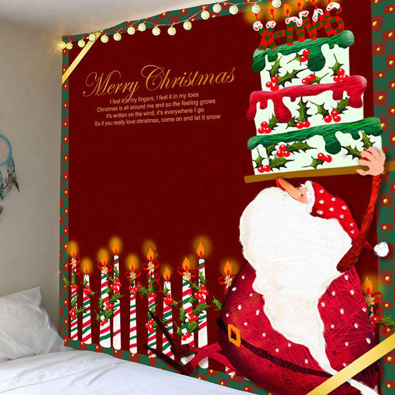 Cheap Decorative Candles And Santa Claus Cake Pattern Tapestry