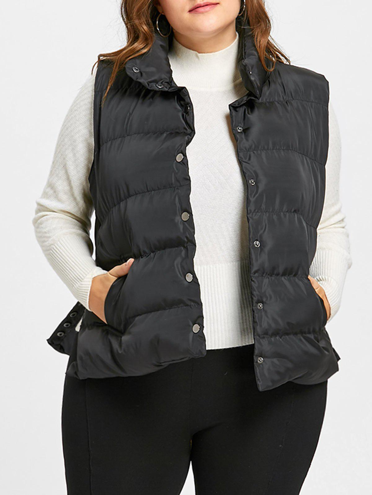 Online Button Up Plus Size Padded Waistcoat