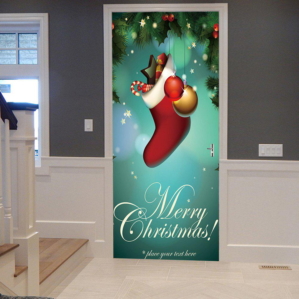 Christmas Sock Pattern Door Cover StickersHOME<br><br>Size: 38.5*200CM*2PCS; Color: COLORMIX; Wall Sticker Type: Plane Wall Stickers; Functions: Decorative Wall Stickers; Theme: Christmas; Pattern Type: Ball,Plant; Material: PVC; Feature: Removable; Weight: 0.4500kg; Package Contents: 2 x Door Stickers (Sheet);
