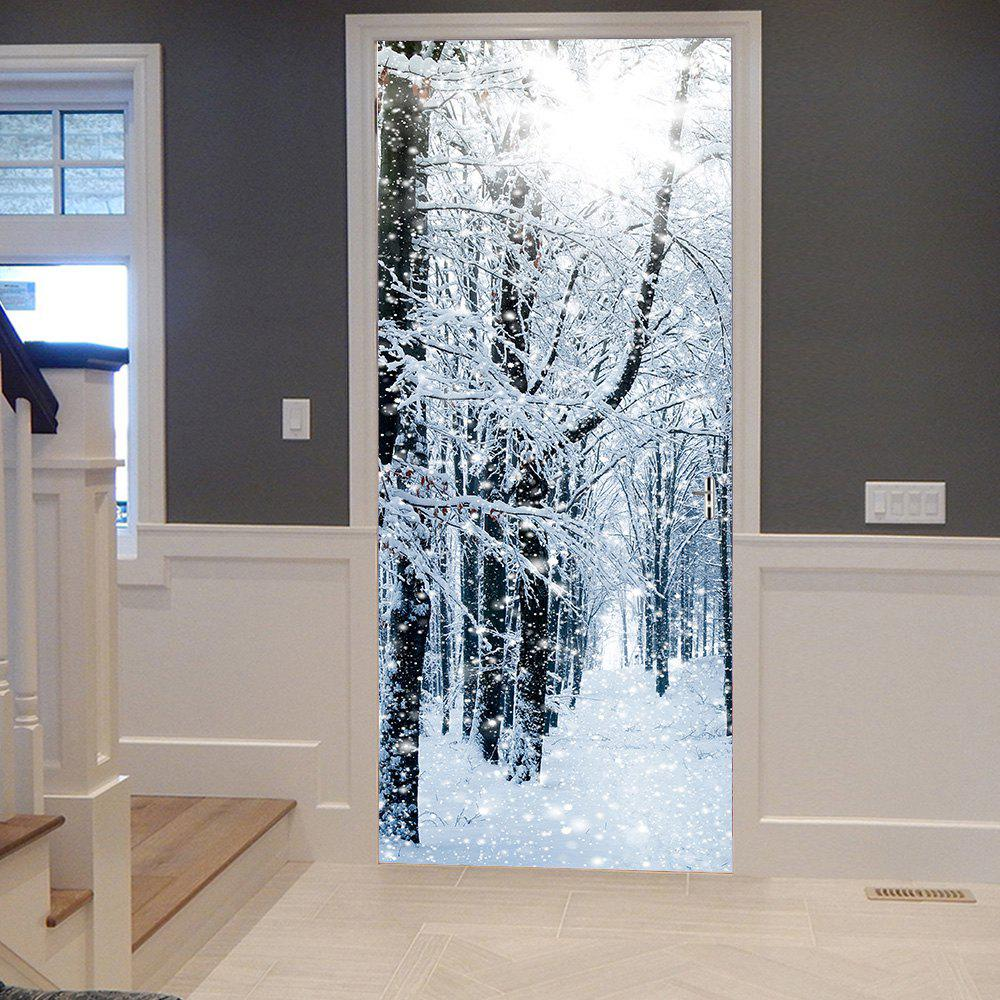 Snowy Forest Pattern Door Cover StickersHOME<br><br>Size: 38.5*200CM*2PCS; Color: GRAY; Wall Sticker Type: Plane Wall Stickers; Functions: Decorative Wall Stickers; Theme: Landscape; Pattern Type: Forest; Material: PVC; Feature: Removable; Weight: 0.4500kg; Package Contents: 2 x Door Stickers (Sheet);