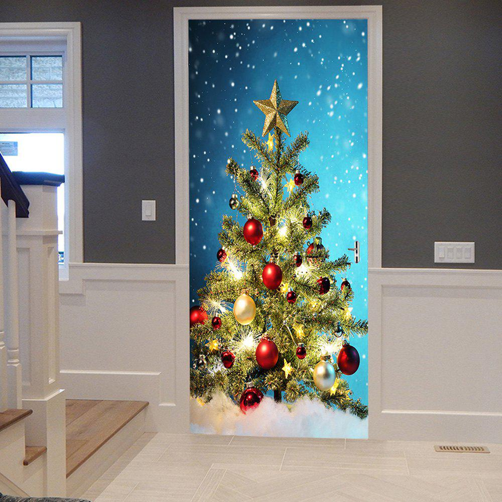 Christmas Tree Balls Pattern Door Cover StickersHOME<br><br>Size: 38.5*200CM*2PCS; Color: COLORMIX; Wall Sticker Type: Plane Wall Stickers; Functions: Decorative Wall Stickers; Theme: Christmas; Pattern Type: Christmas Tree; Material: PVC; Feature: Removable; Weight: 0.4500kg; Package Contents: 2 x Door Stickers (Sheet);