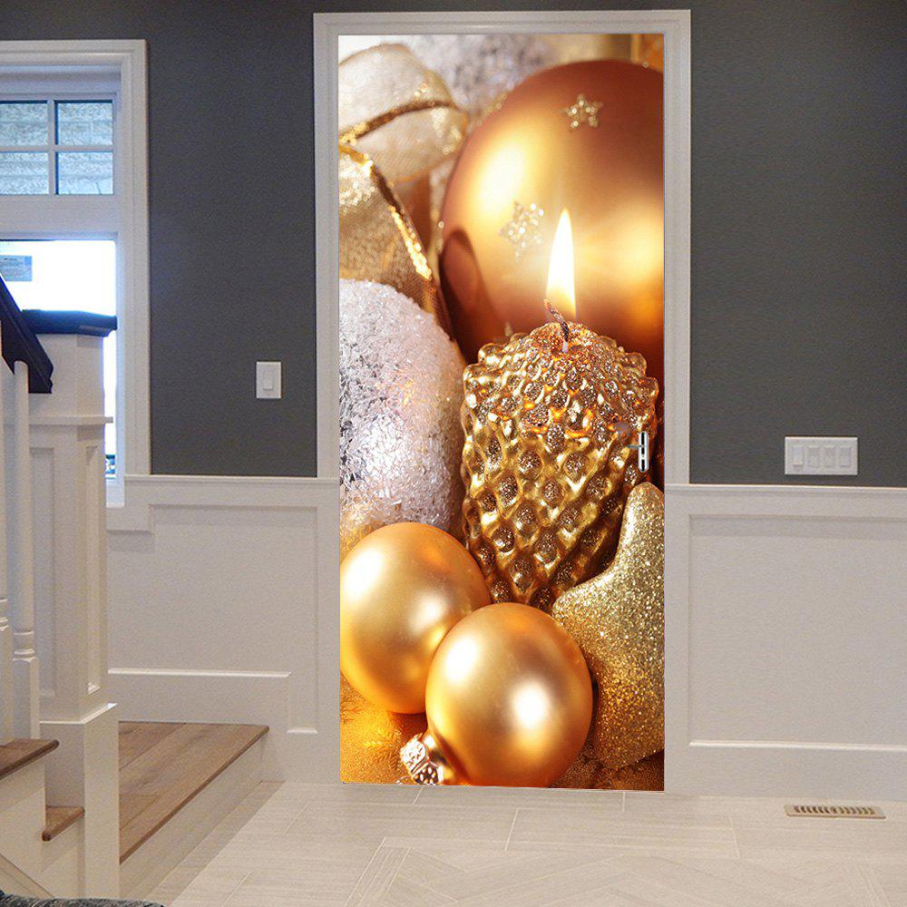 Christmas Candle Balls Pattern Door Cover StickersHOME<br><br>Size: 38.5*200CM*2PCS; Color: GOLDEN; Wall Sticker Type: Plane Wall Stickers; Functions: Decorative Wall Stickers; Theme: Christmas; Pattern Type: Ball; Material: PVC; Feature: Removable; Weight: 0.4500kg; Package Contents: 2 x Door Stickers (Sheet);