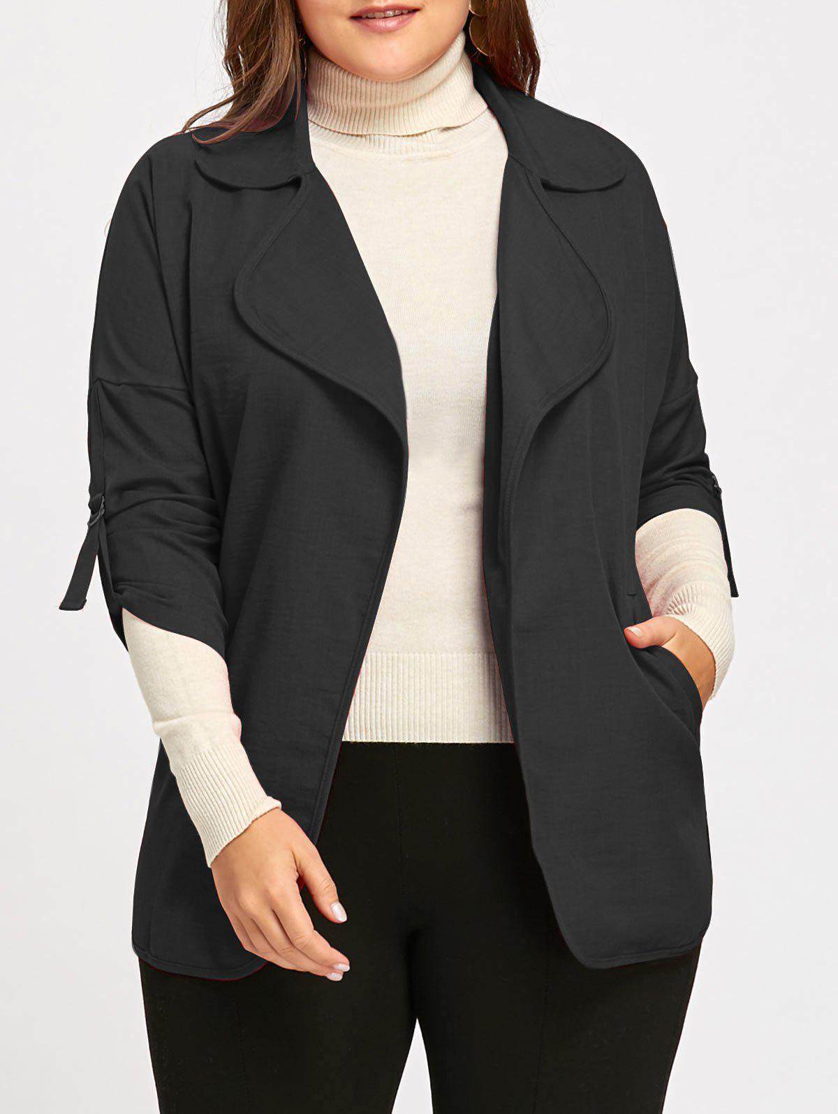 Fancy Roll Up Sleeve Turndown Collar Plus Size Trench Coat