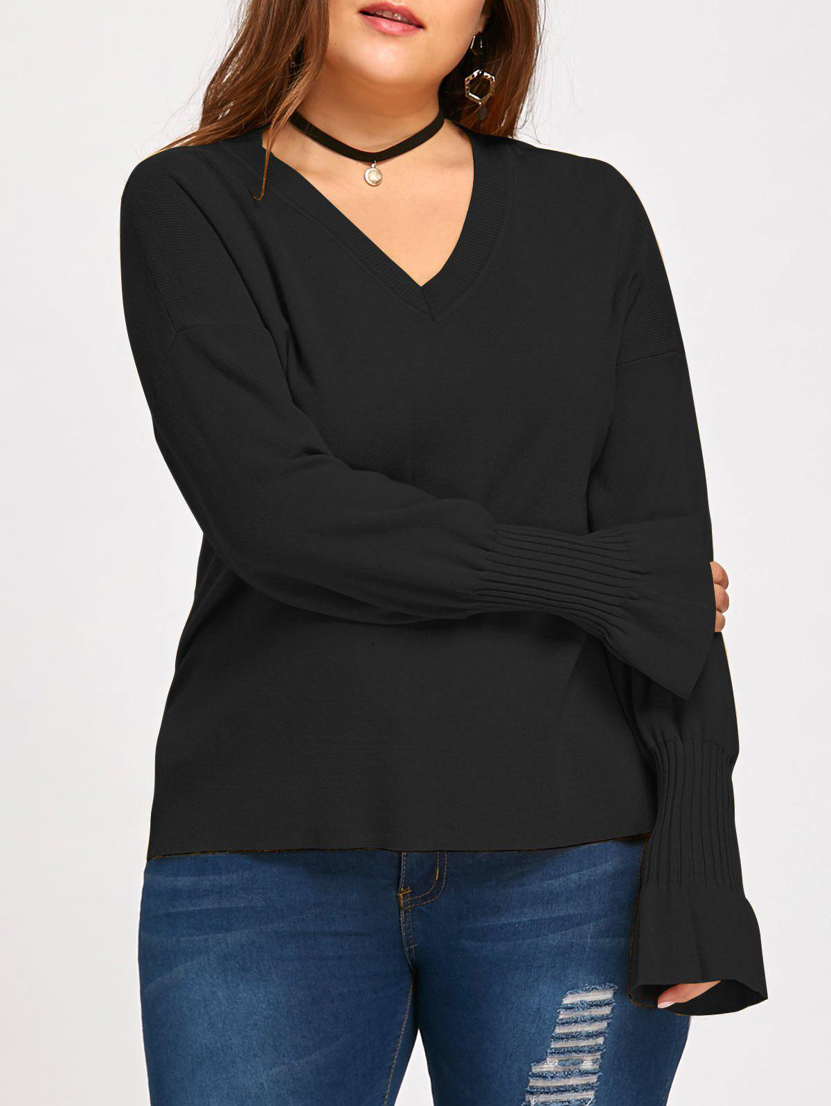 Trendy Flounce Plus Size Lantern Sleeve V Neck Sweater