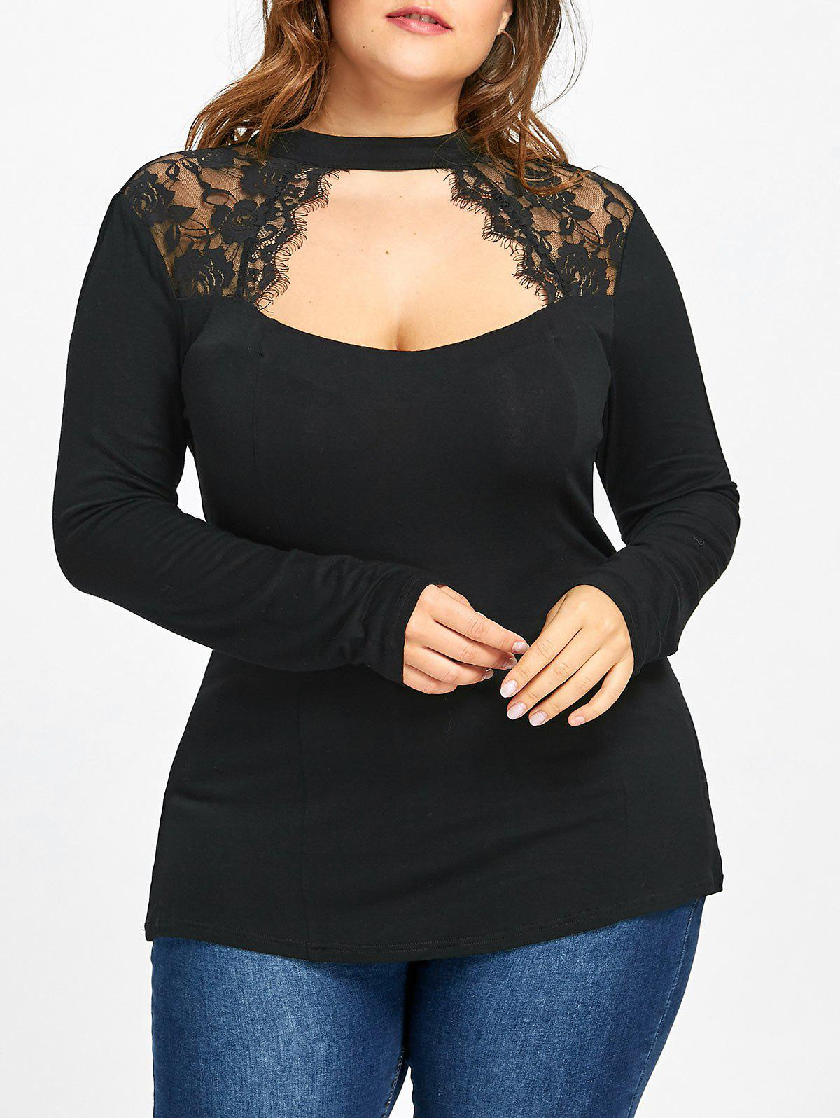 Cheap Plus Size Lace Trim Keyhole Top