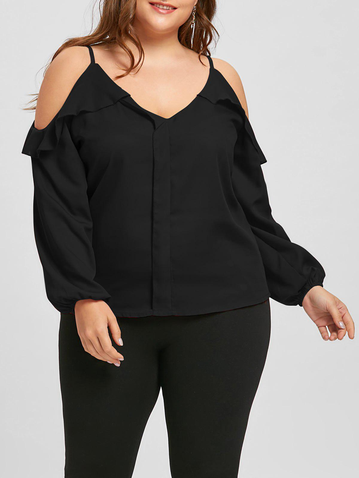 Store Plus Size Ruffled Chiffon Long Sleeve Cold Shoulder Top