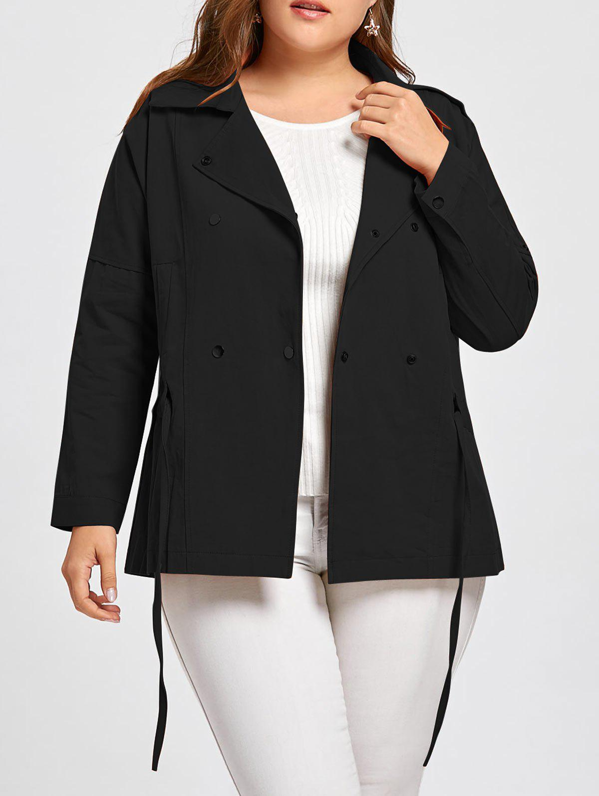 Fancy Double Breasted Drawstring Plus Size Jacket