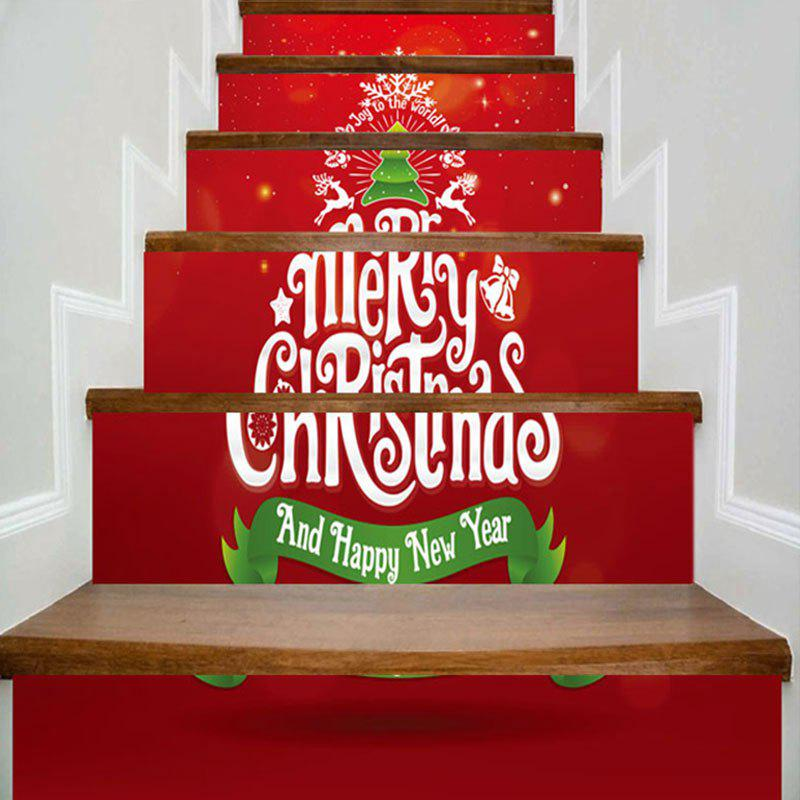Fancy Merry Christmas Tree Pattern Decorative Stair Stickers