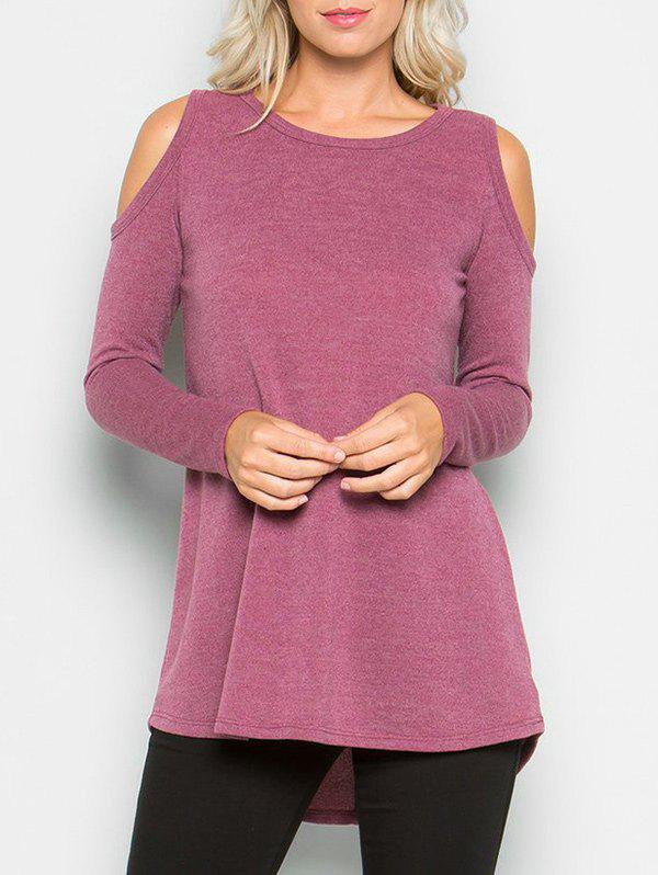 Discount Cold Shoulder High Low T-shirt